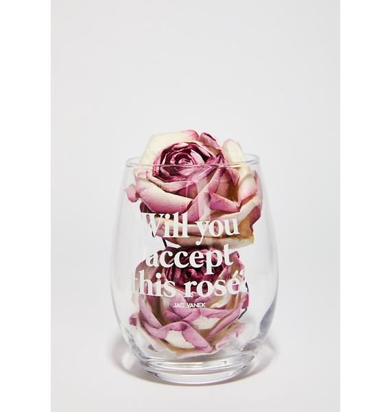 Jac Vanek Rose Ever After Wine Glass