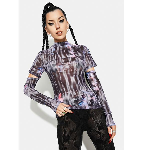 Punk Rave Millennium E-Worm High Neck Mesh Top