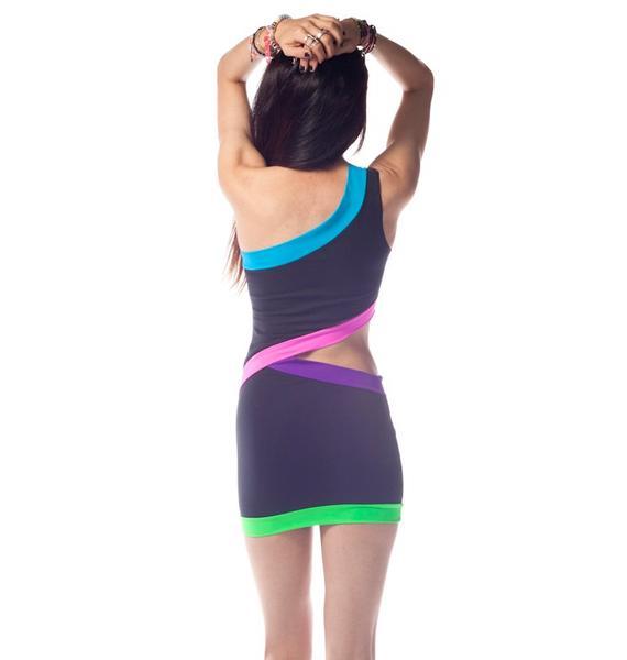 Neon Diagonal Cut Out Dress