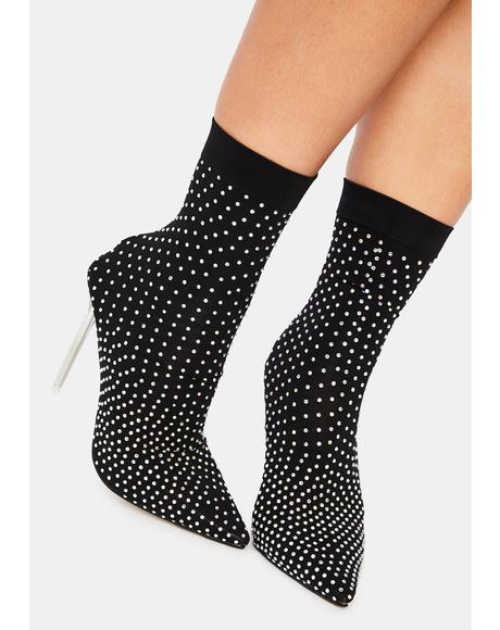 Midnight U Glow Girl Sock Bootie Heels