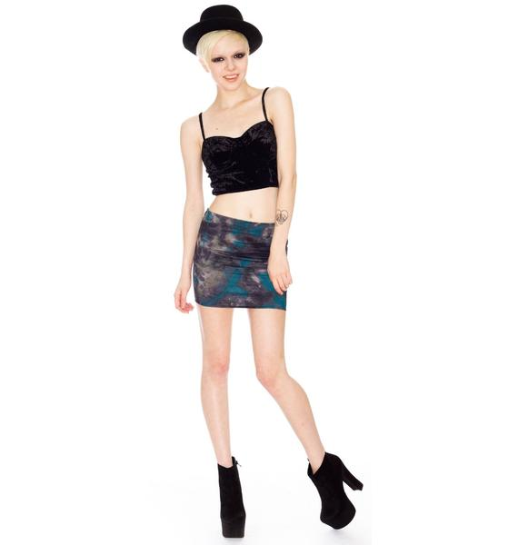 Print Elastic Mini Skirt