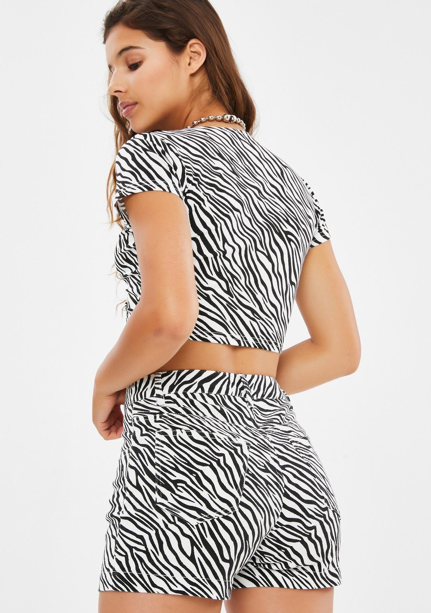 dELiA*s by Dolls Kill Animal Style Zebra Shorts