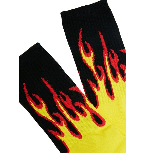 Petals and Peacocks Flame Socks