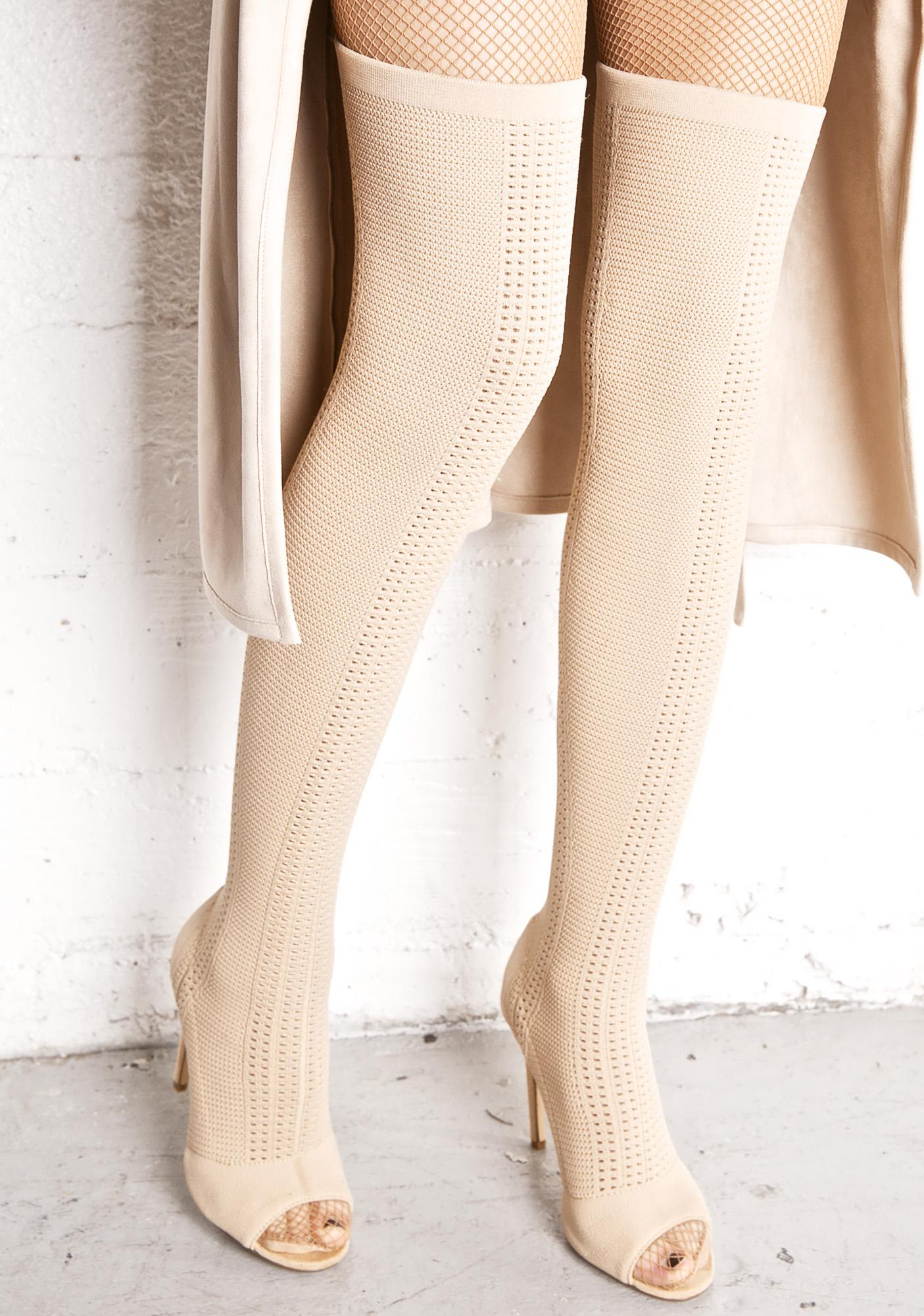 64f315814 Nude Knit Thigh High Open Toe Boots | Dolls Kill