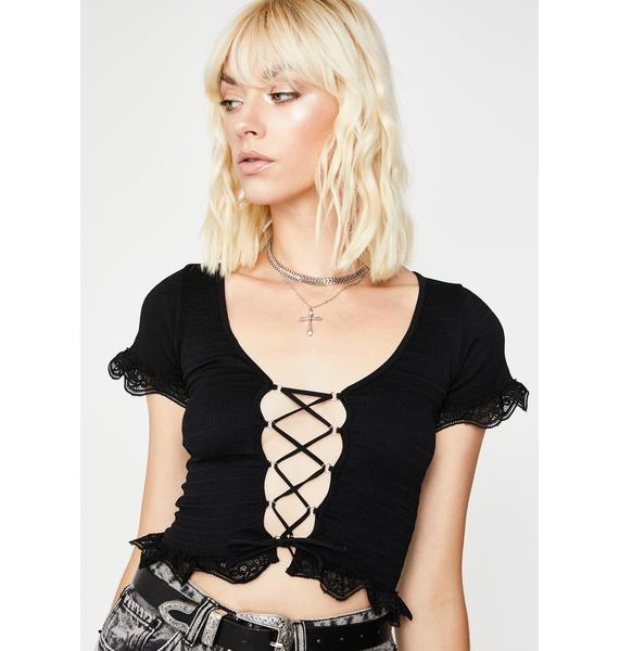 Mystic Boho Bliss Lace-Up Top
