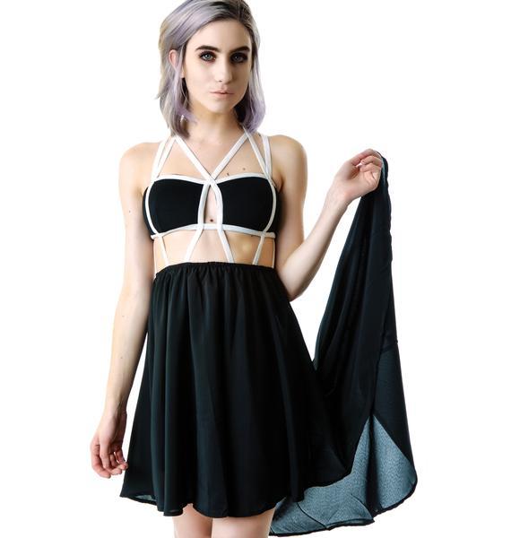 Stringing Ya Along Cage Cut Out Dress