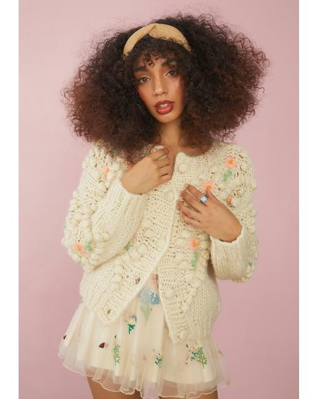 Flower Patch Knit Cardigan