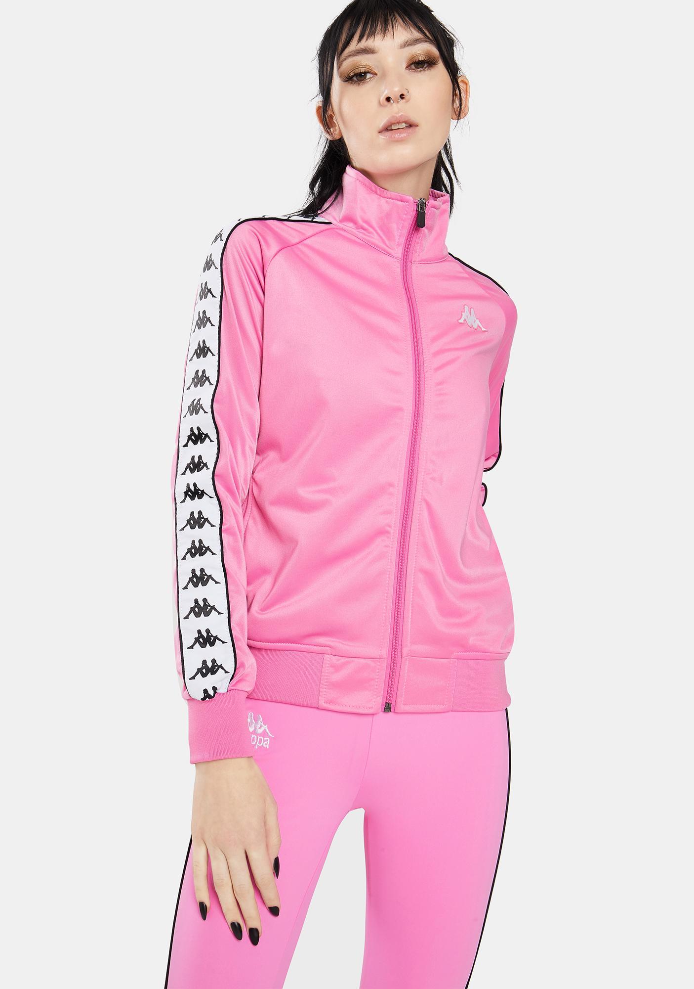 Kappa Banda Anniston 222 Fuchsia Pink White Track Jacket