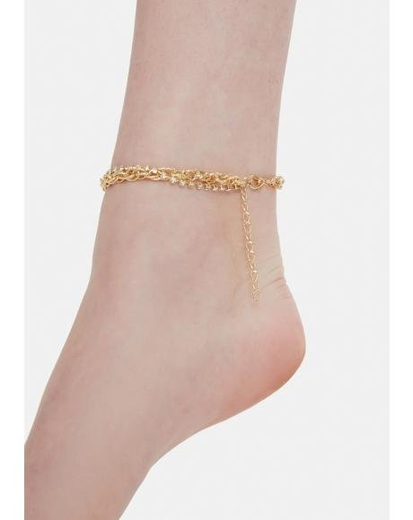 Here She Comes Diamante Chain Anklet