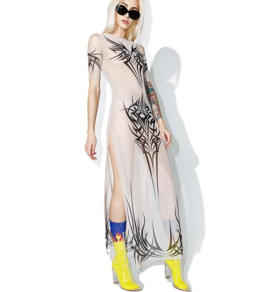 Current Mood Phenomenon Tattoo Maxi Dress