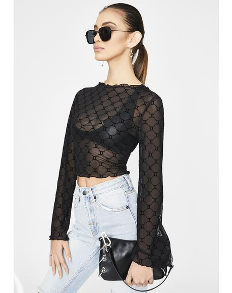 Zodiac Flocked Mesh Top