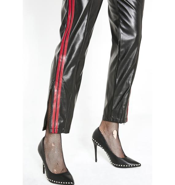 Racing Stripes Vegan Leather Joggers