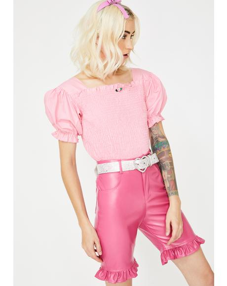 Pink Short Puff Sleeve Blouse