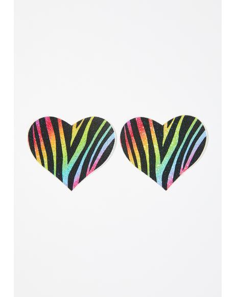 Zebra Glitter Heart Pasties