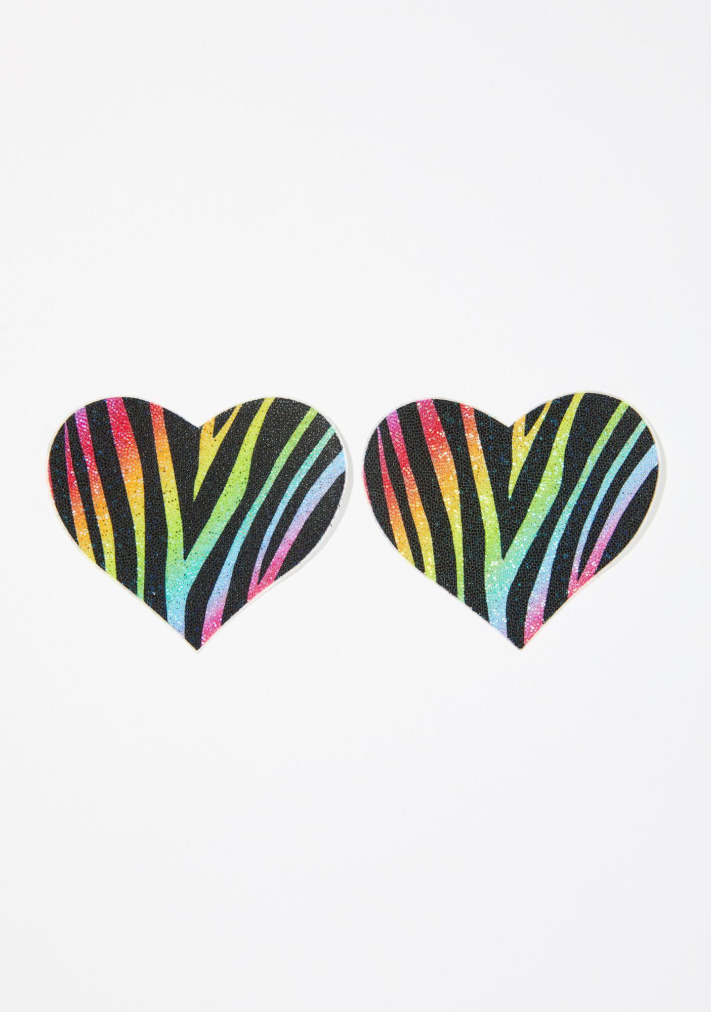 Pastease Zebra Glitter Heart Pasties