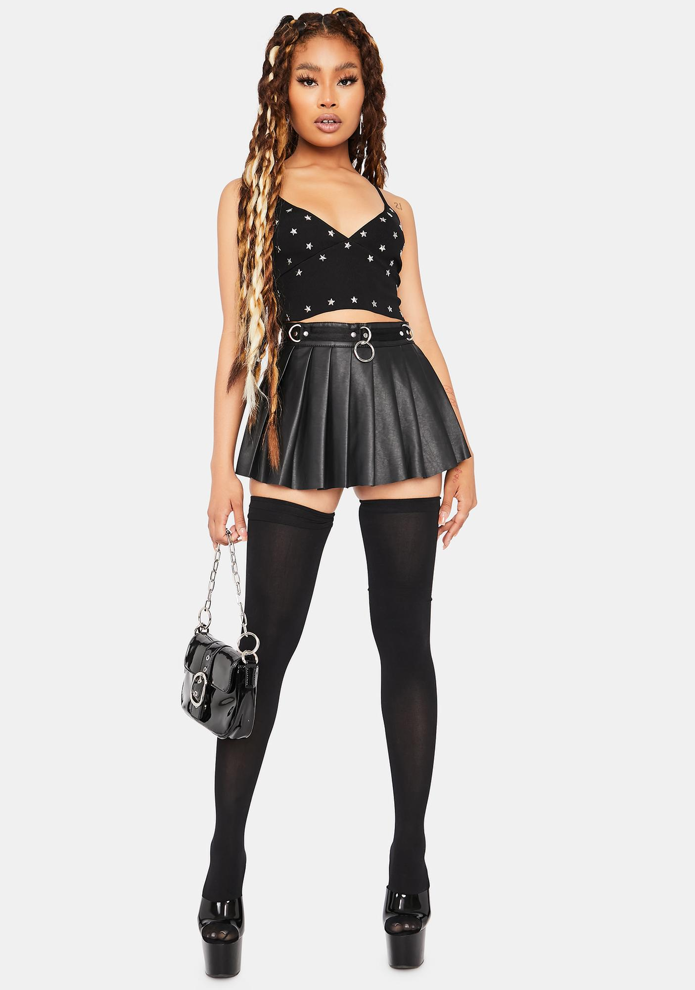 Night Star Sensation Studded Cropped Tank Top