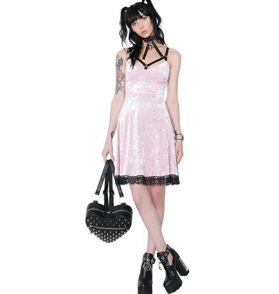 Killstar Pink Adora Velvet Crush Dress