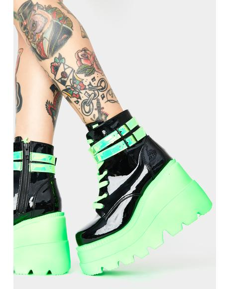 Green UV Patent Technopagan Boots