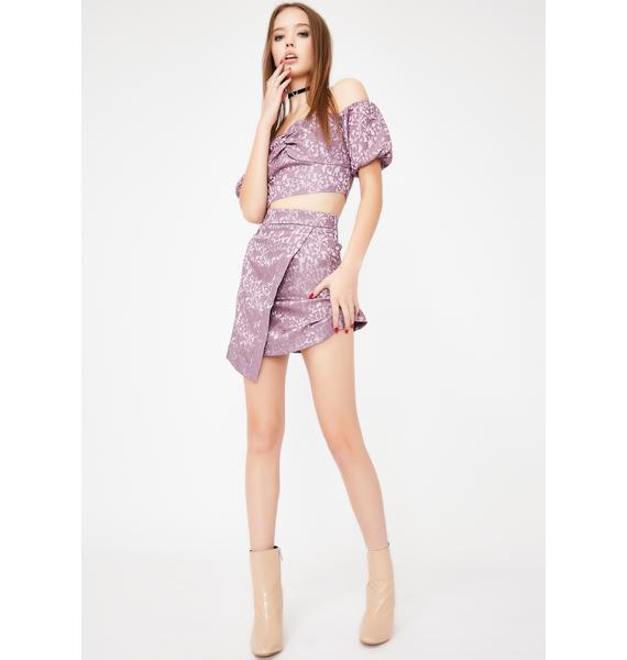 Glamorous Dusty Purple Jacquard Mini Skirt