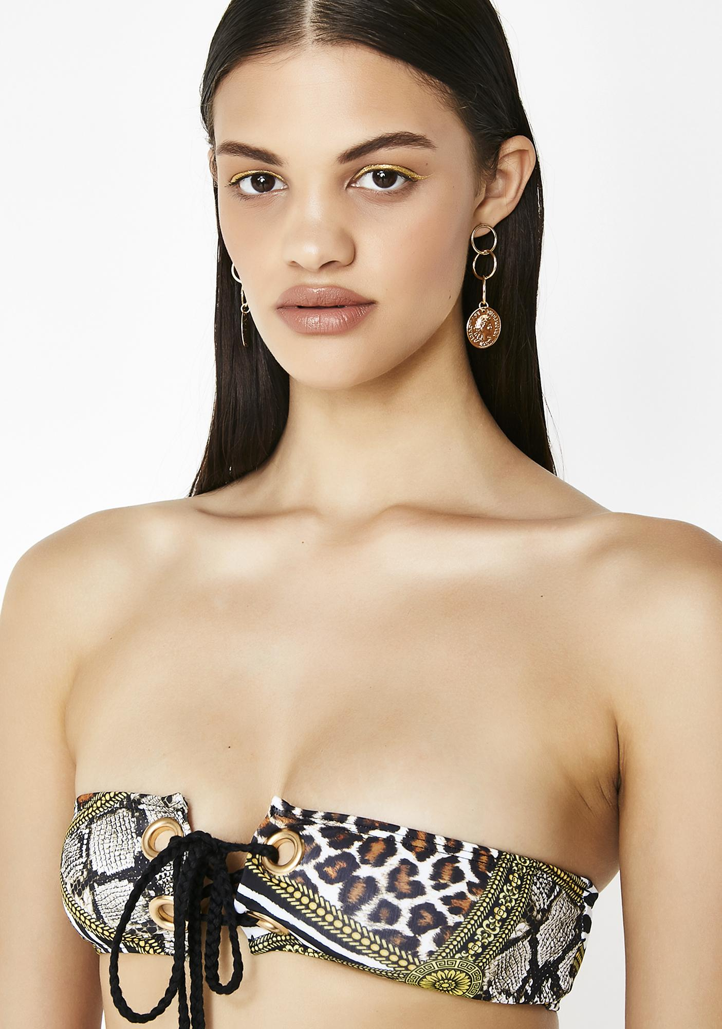 Jaded London Animal Clash Eyelet Lace Up Bikini Top