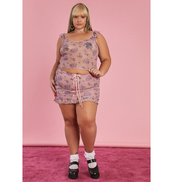 Sugar Thrillz It's All A Dream Lace Up Skirt
