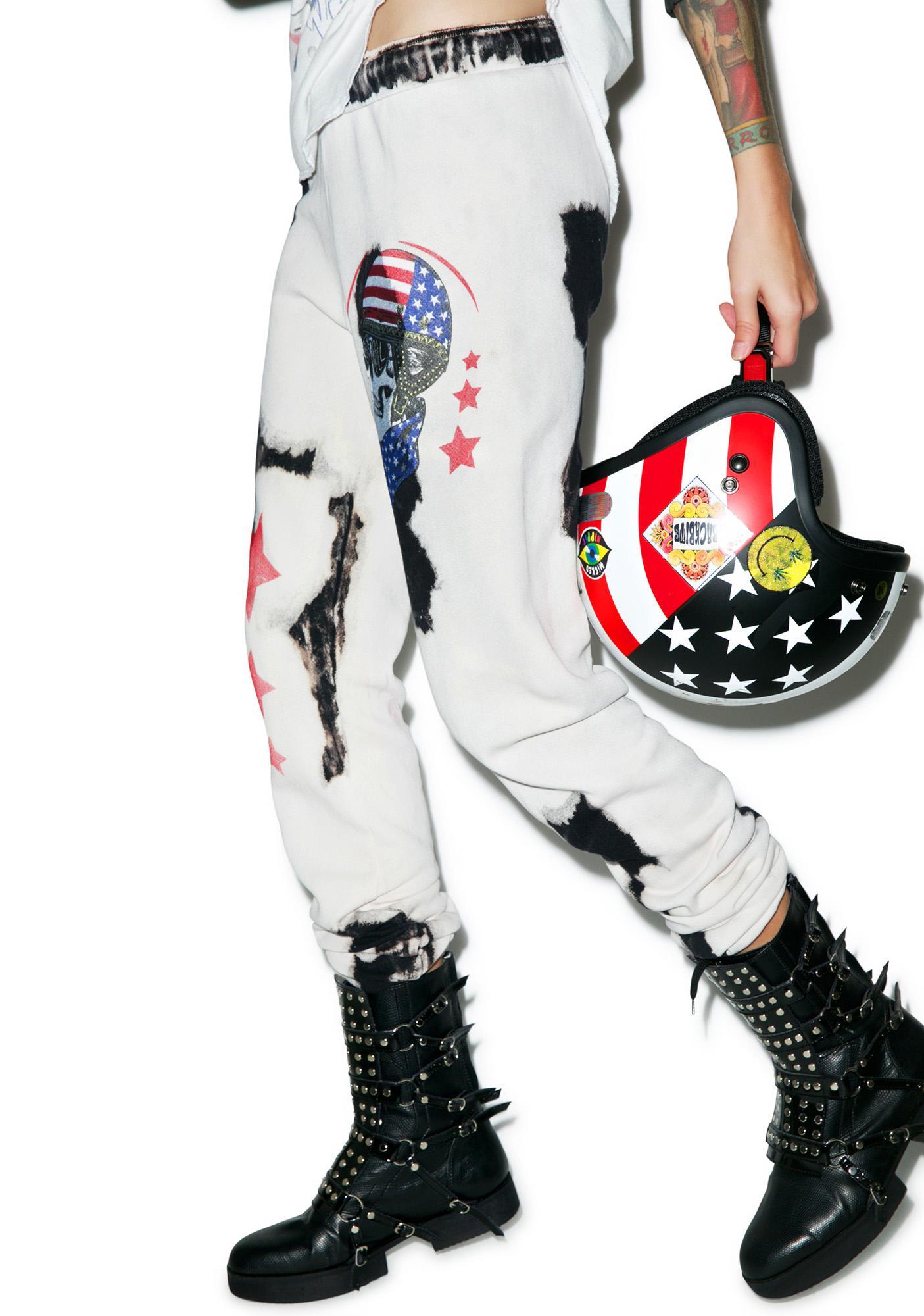 Lauren Moshi Bleached Tanzy Skull Helmet Sweatpants