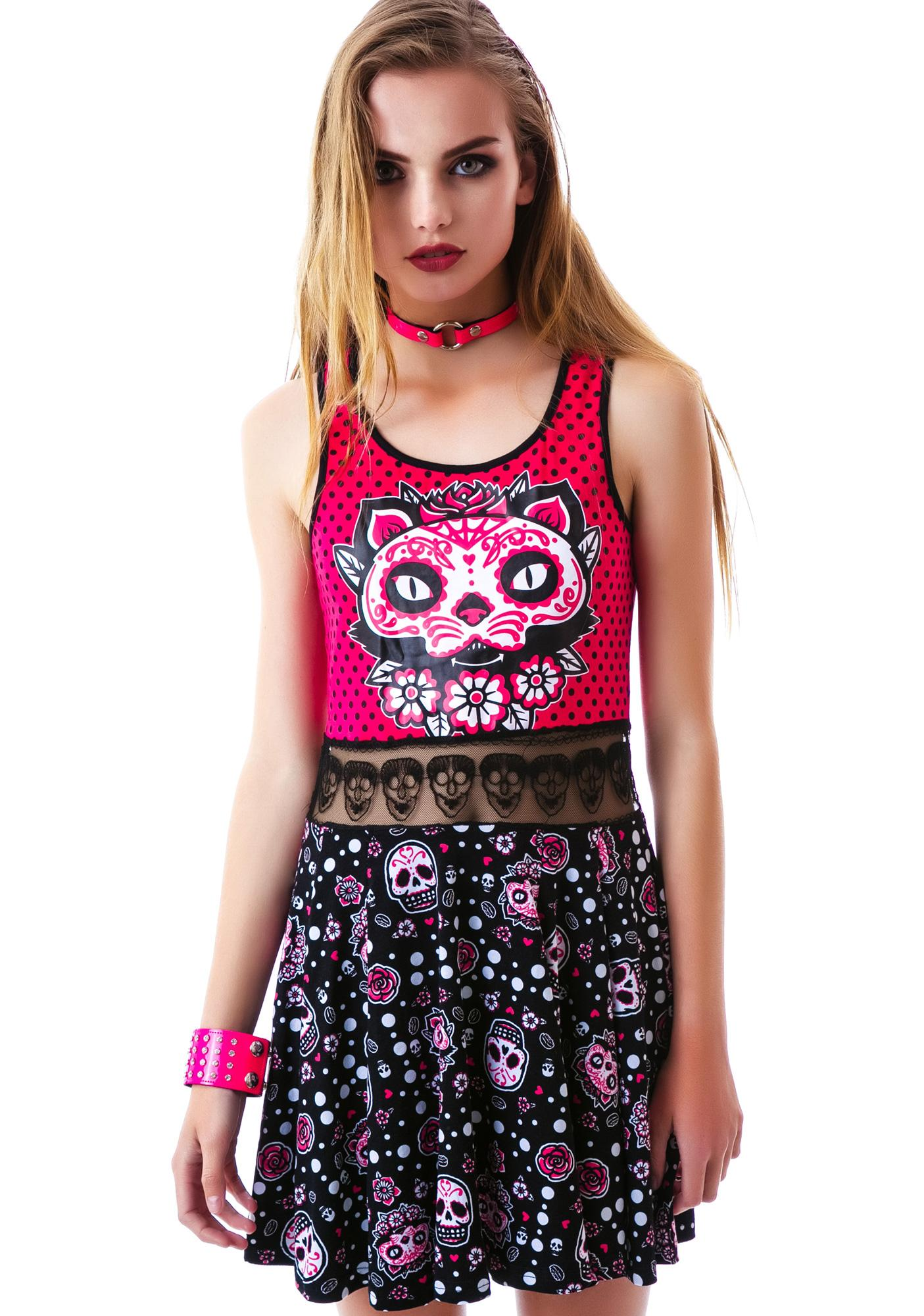 Too Fast Muerta Cat Bambi Dress