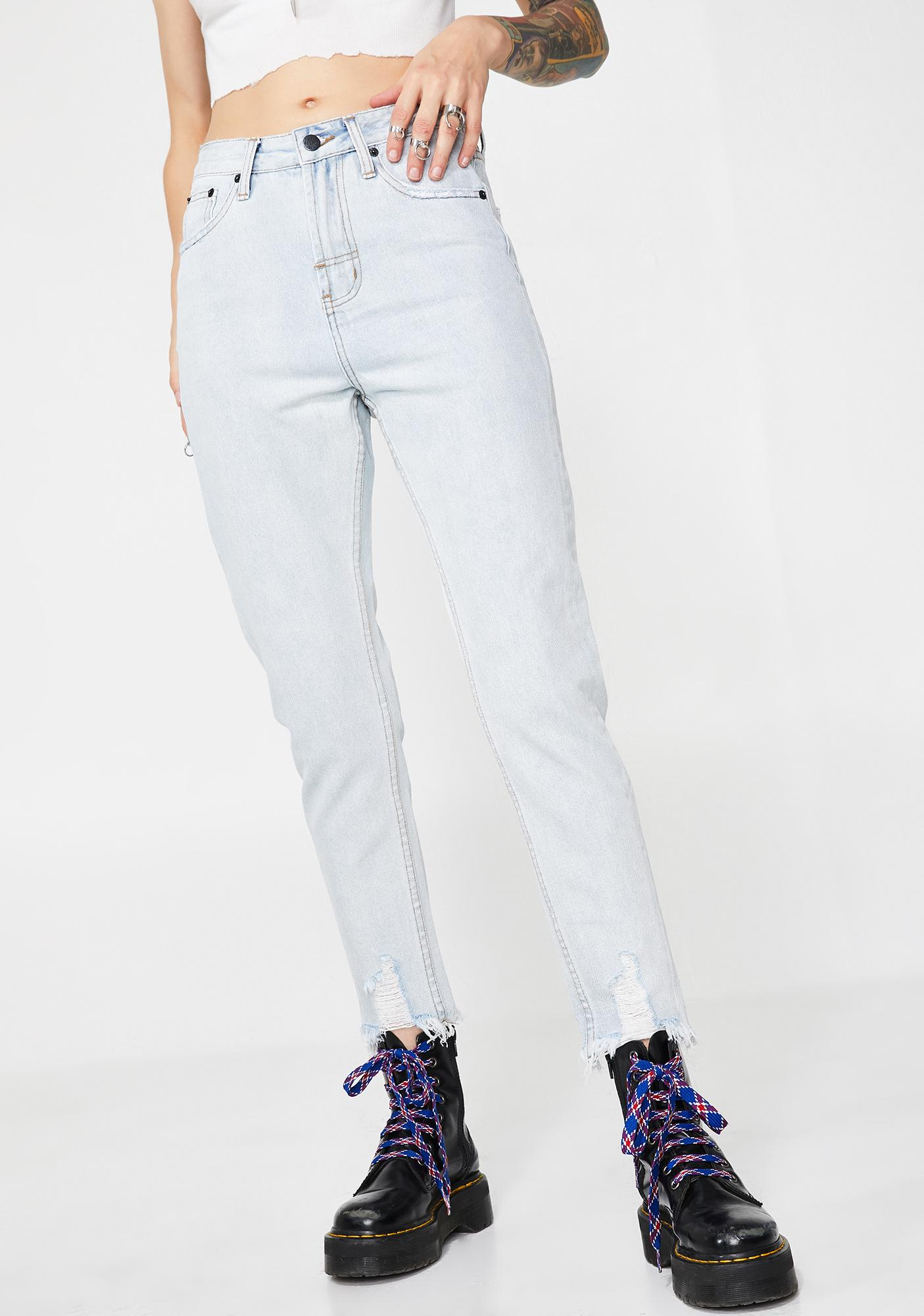The People VS Powder Blue High Waist Mum Jeans