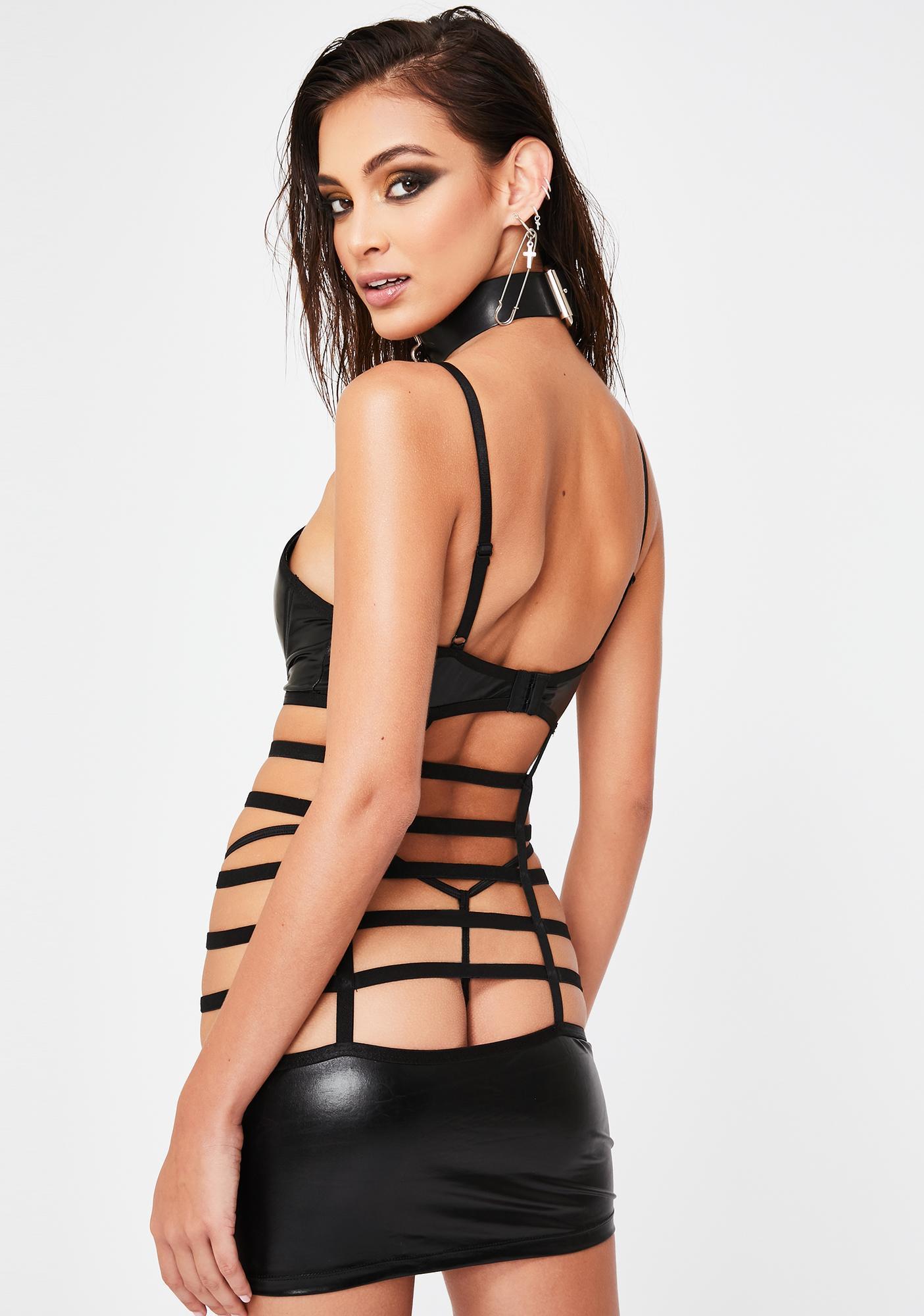 Hands-On Caged Mini Dress N' G-String Set