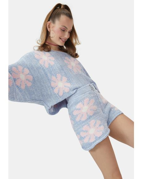 Cyan Playin' With You Floral Knit Shorts