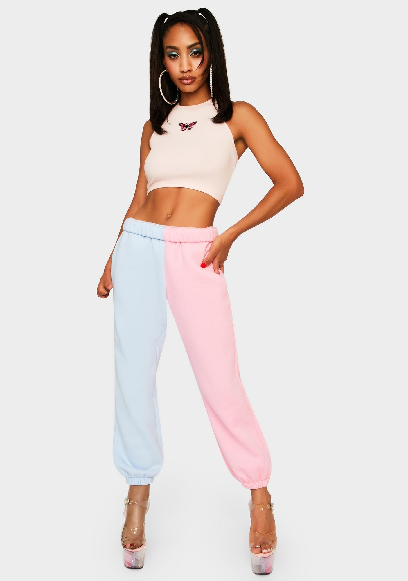 Cotton Candy Slacker Squad Two Tone Sweatpants