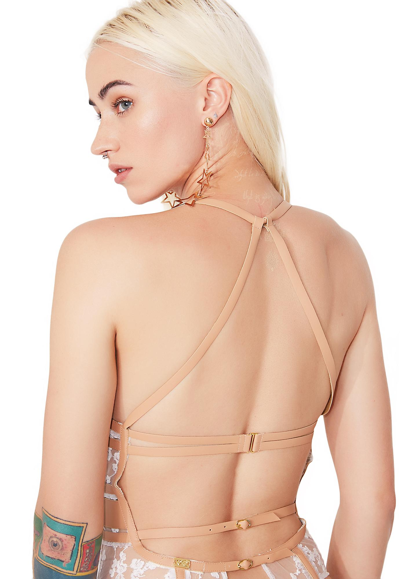 For Love & Lemons Rosebud Embroidery Bodysuit