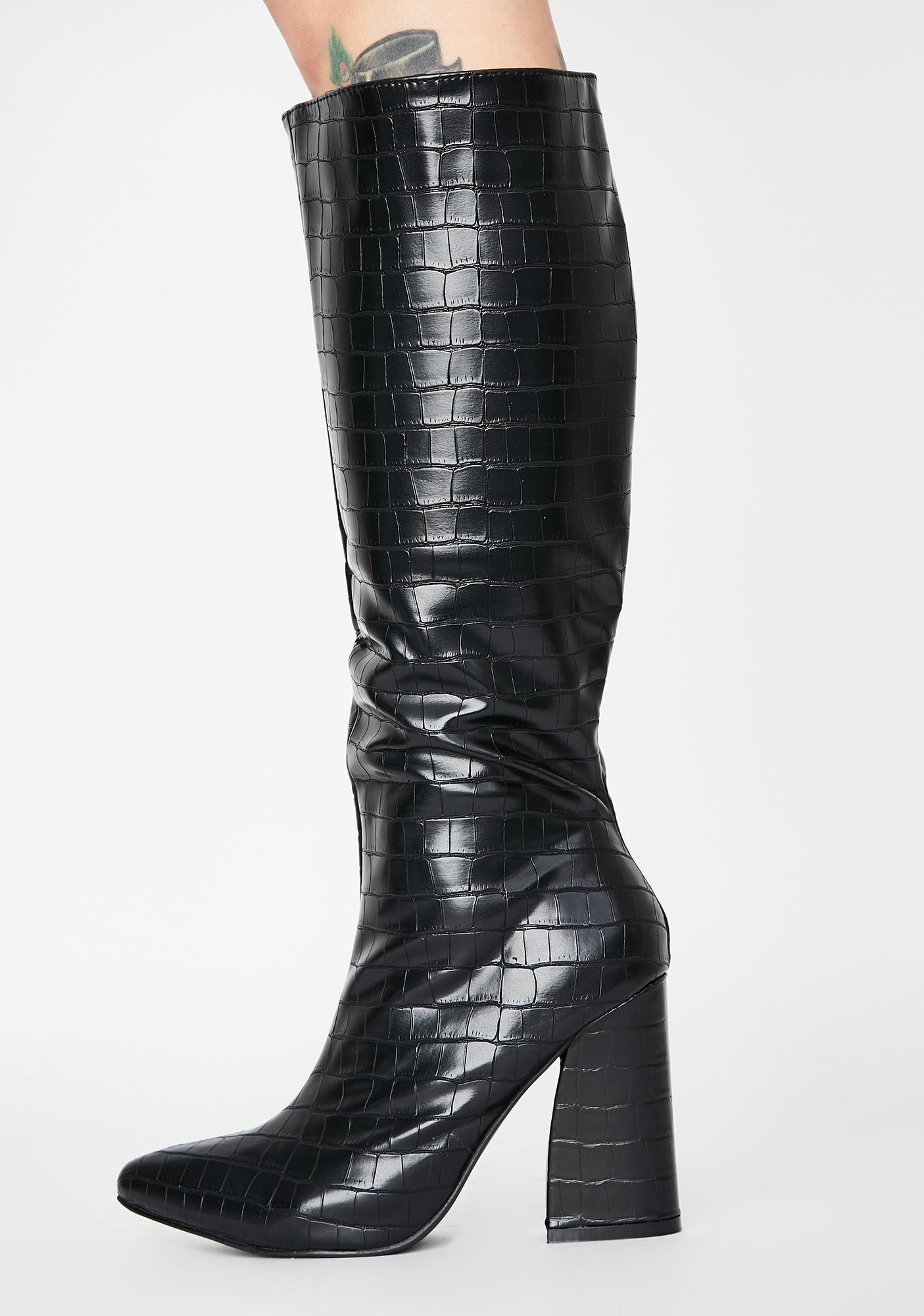Cobra Couture Knee High Boots