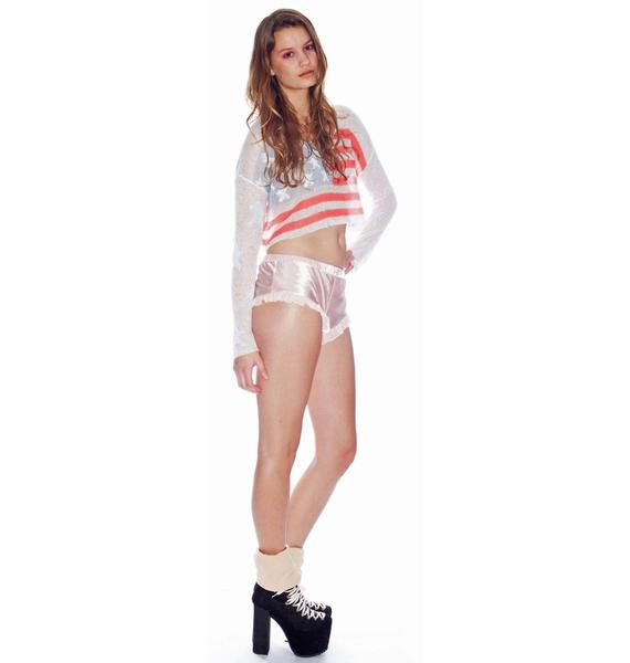 Wildfox Couture Born On The 4th July Billy Cropped Sweater