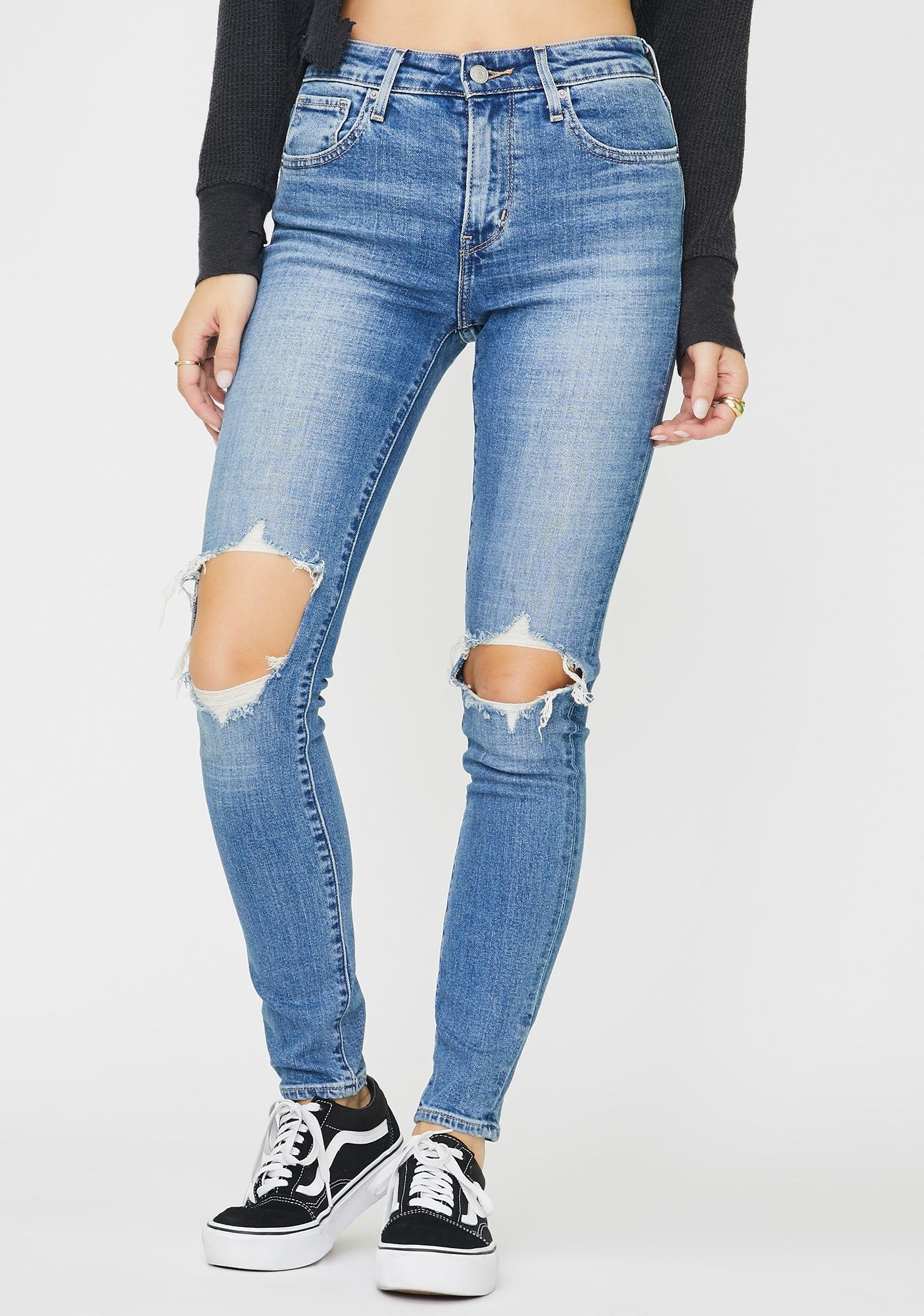 Levis Rugged Indigo 721 High Rise Skinny Jeans