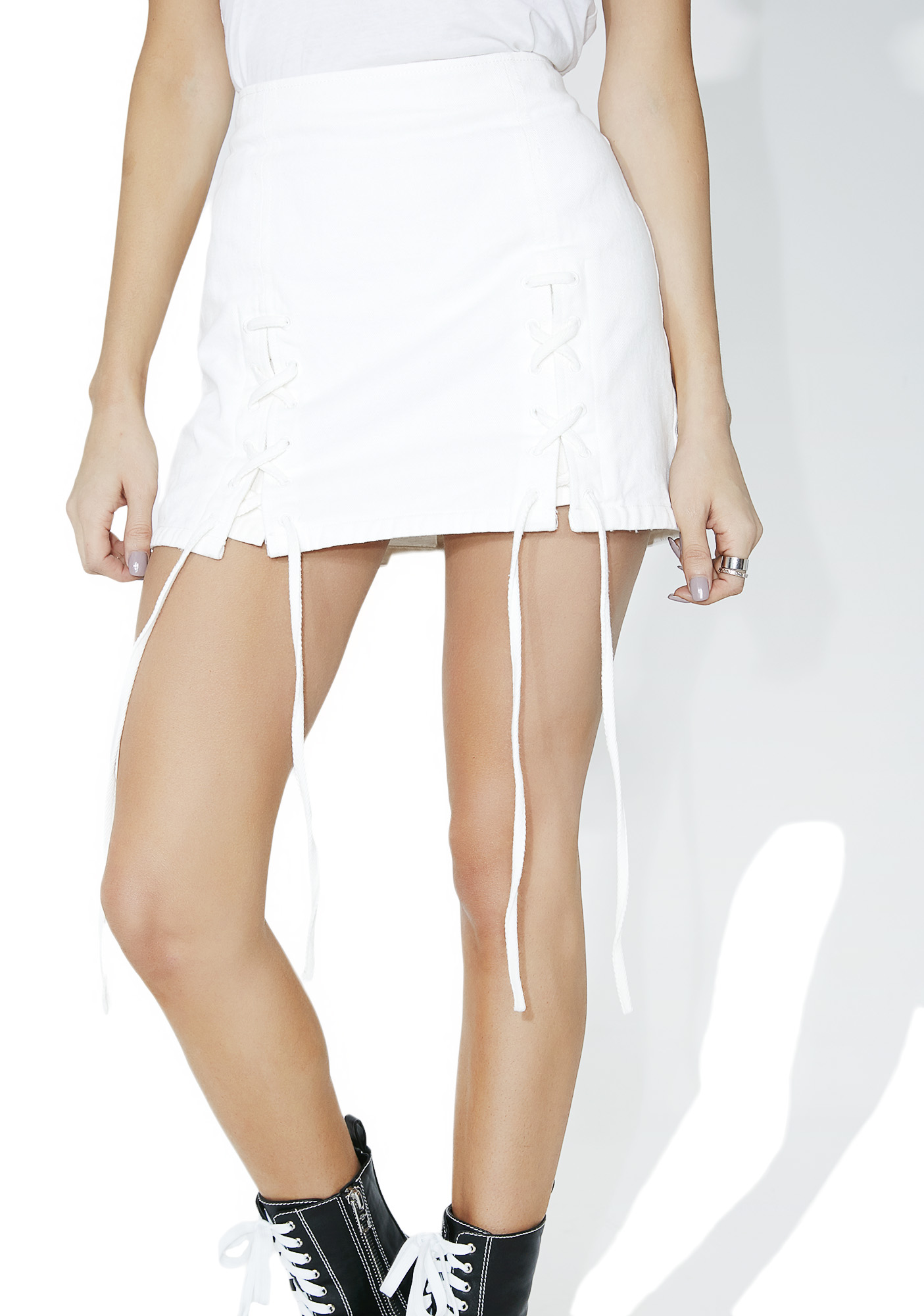 White Denim Lace Up Slit Mini Skirt
