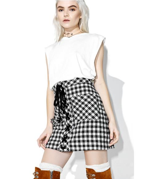 Full Tilt Plaid Lace-up Skirt
