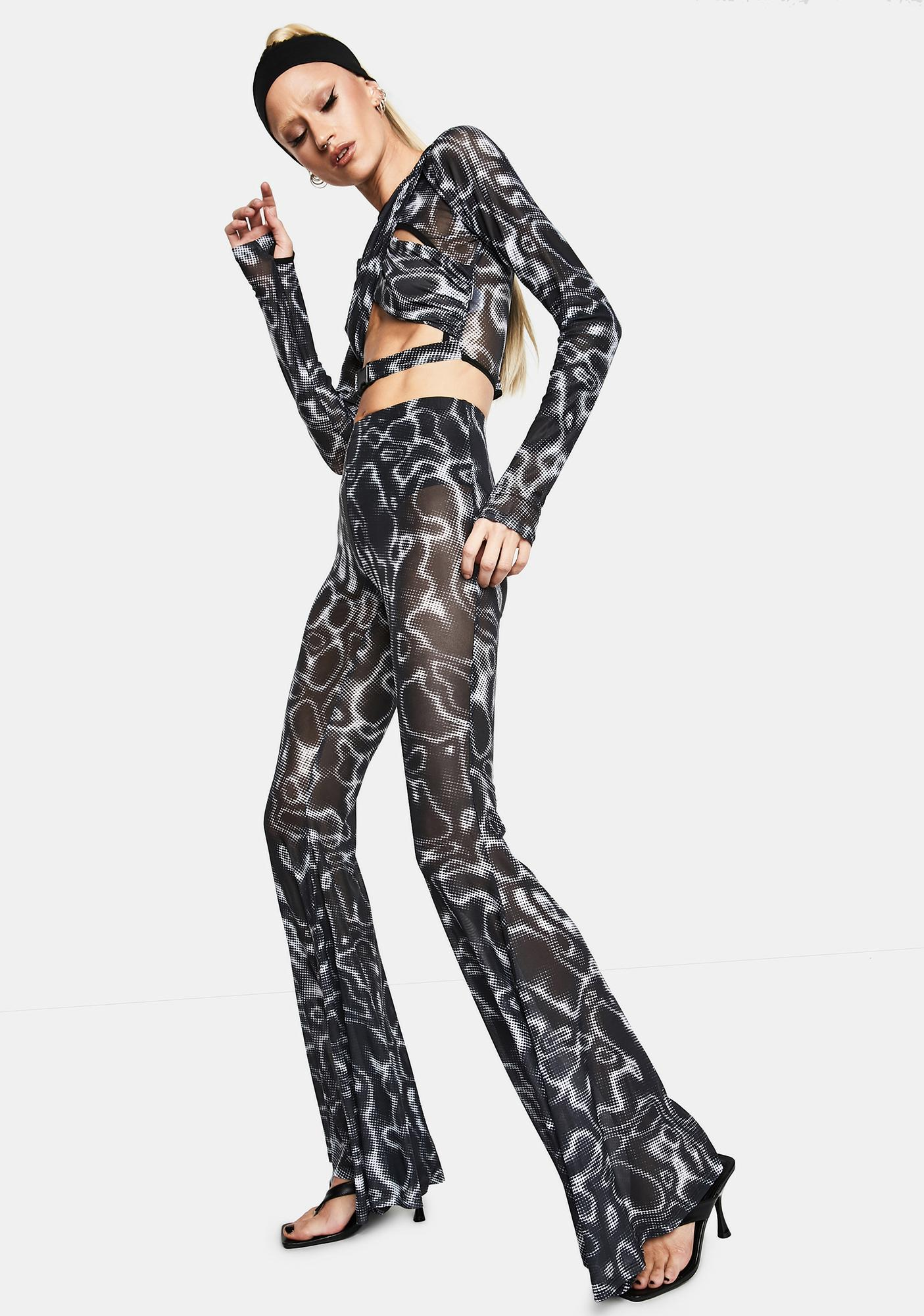 Club Exx Ripple Effect Mesh Flare Pants