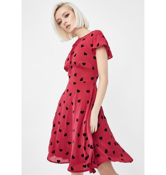 Voodoo Vixen Peppa Heart Chiffon Tea Dress