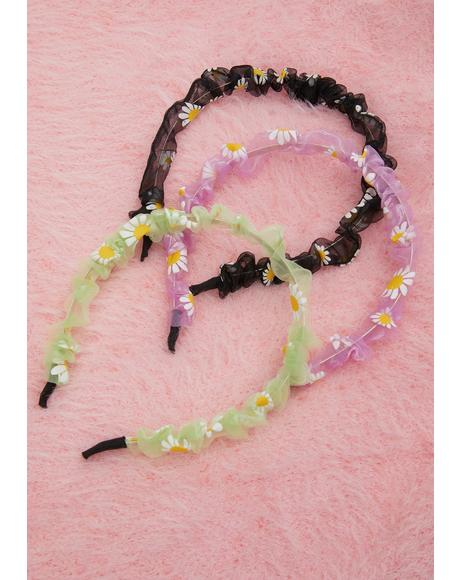 Spring All Along Daisy Organza Headband Set