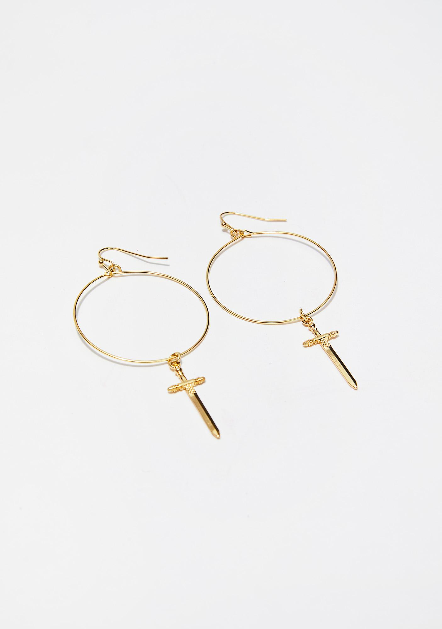 Golden Dagger Drop Earrings