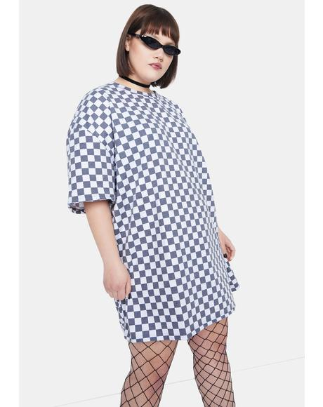 Curve White Checkerboard Tee