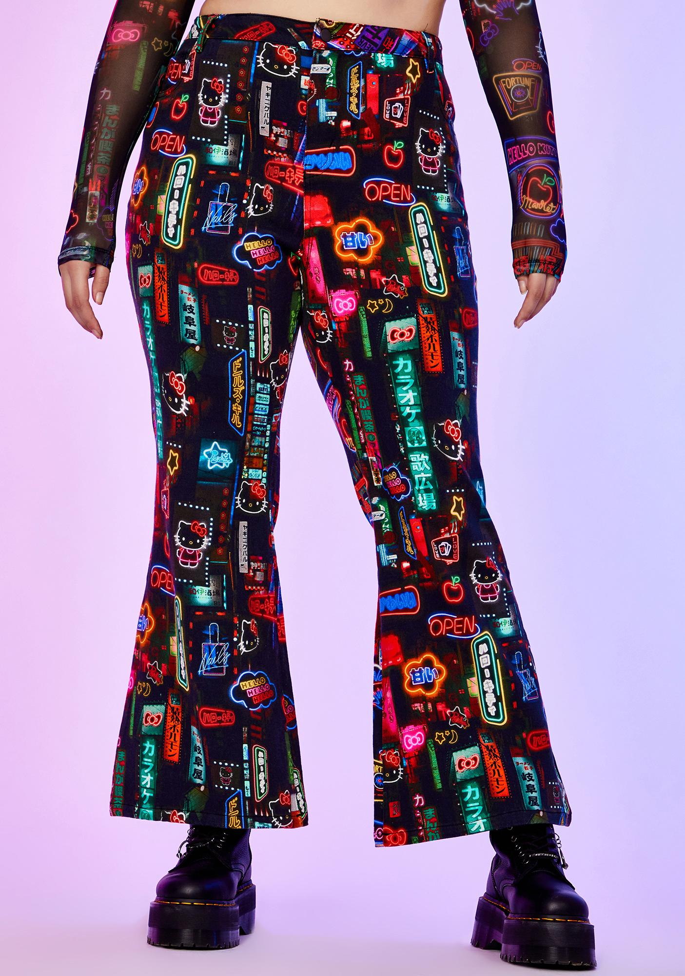 Dolls Kill x Hello Kitty Perfect Pixel City Flare Pants