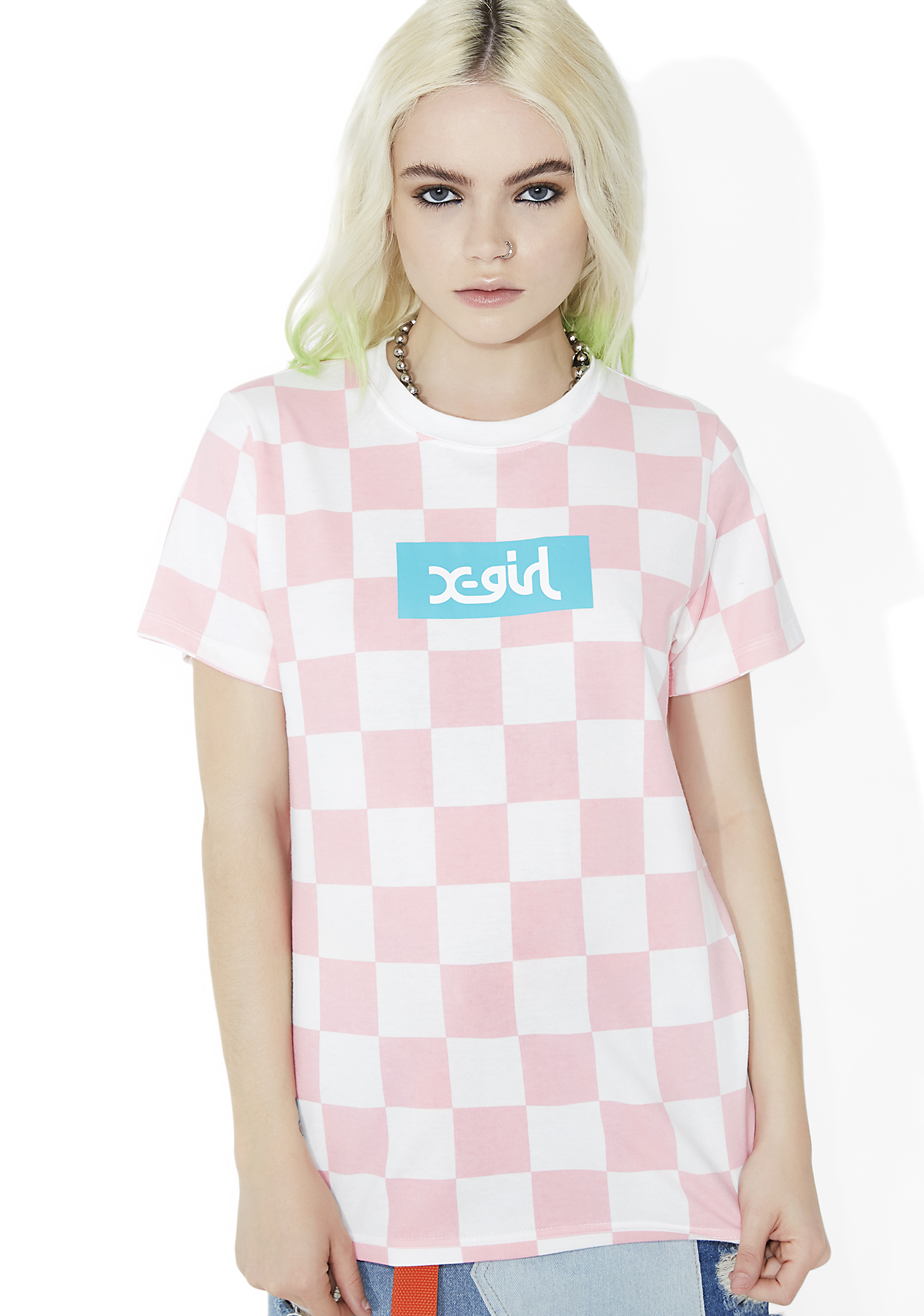 x-Girl Checkered Short Sleeve Tee