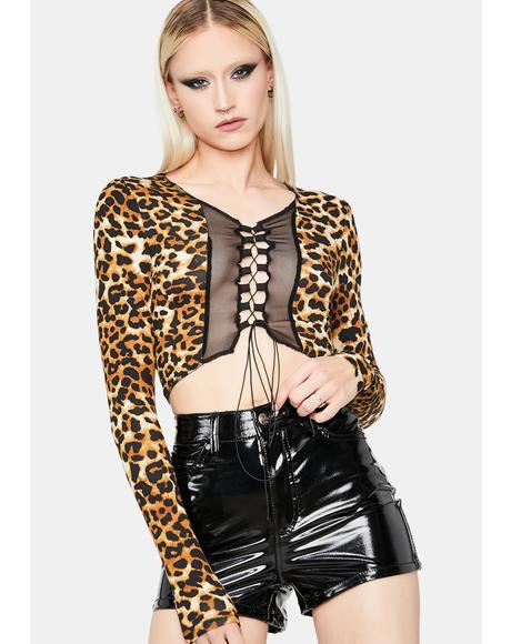 Leopard Instincts Lace Up Crop Top