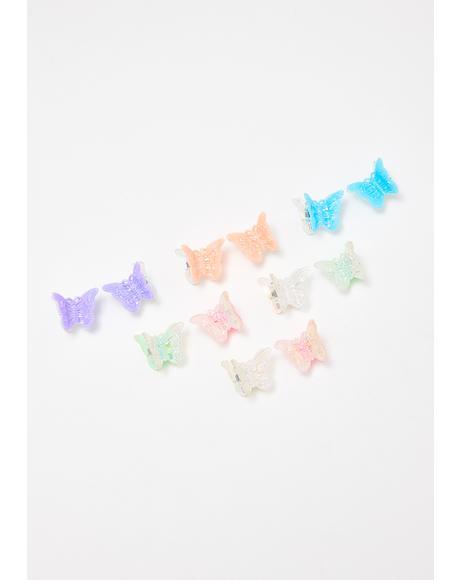 Pastel Half N' Half Butterfly Clip Set