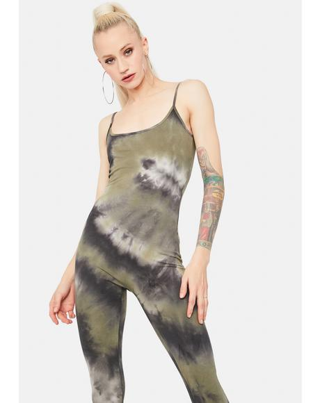 Olive Beat Of My Heart Tie Dye Jumpsuit