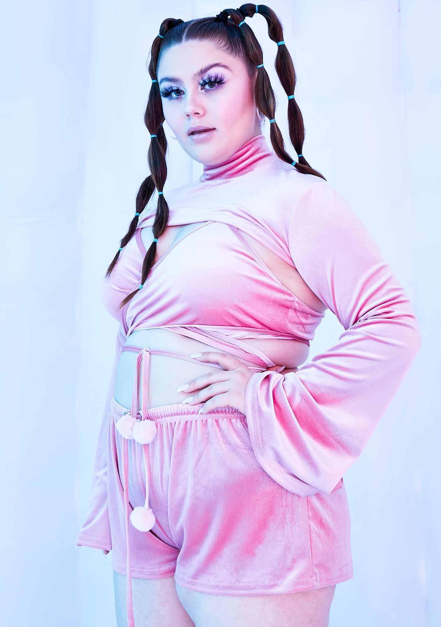 Club Exx Miss Rave Bunny Velvet Shorts