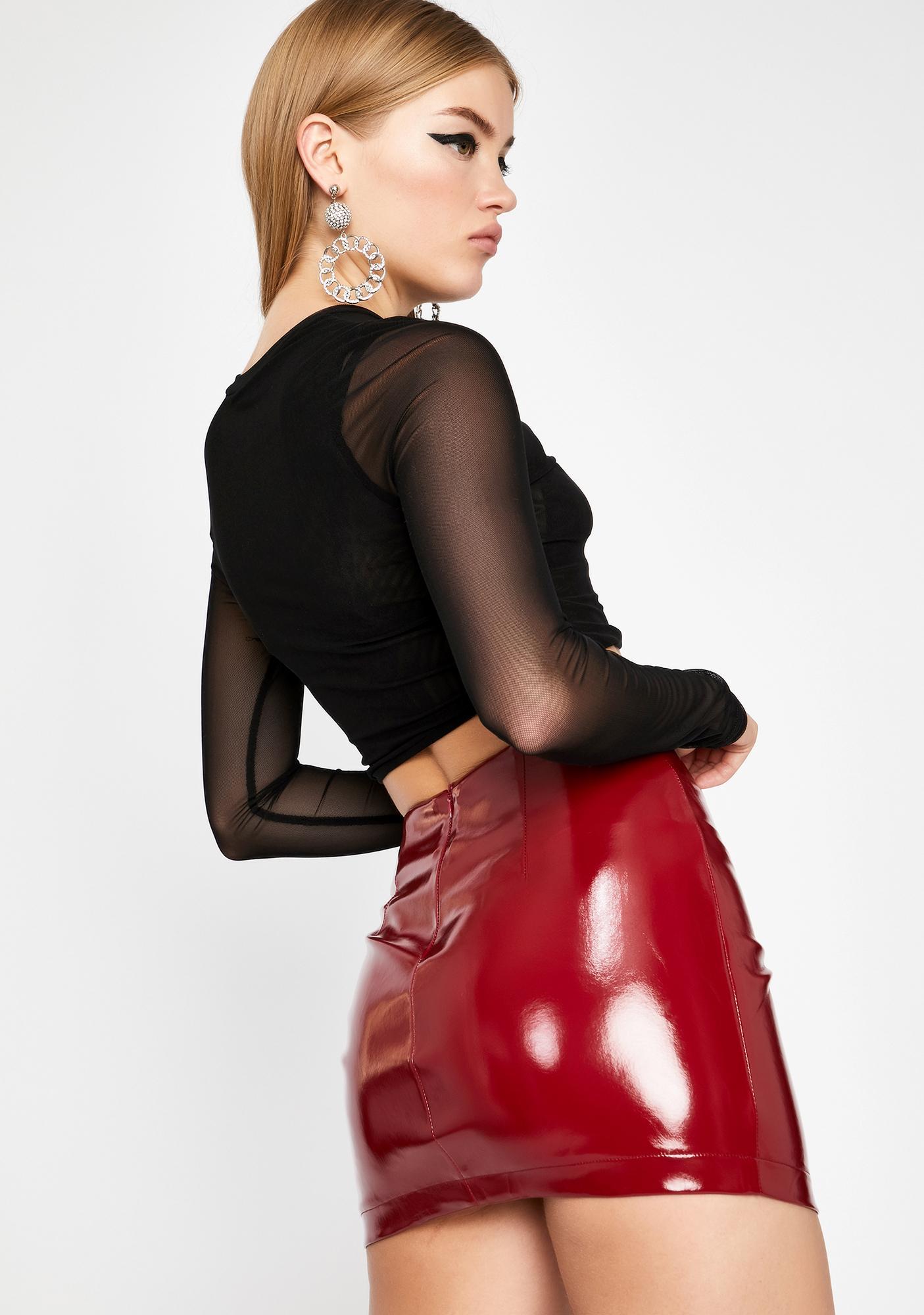 Hawt Work For It Vinyl Skirt
