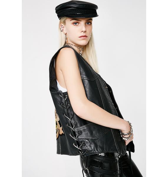 Vintage 70s Harley Patch Leather Vest